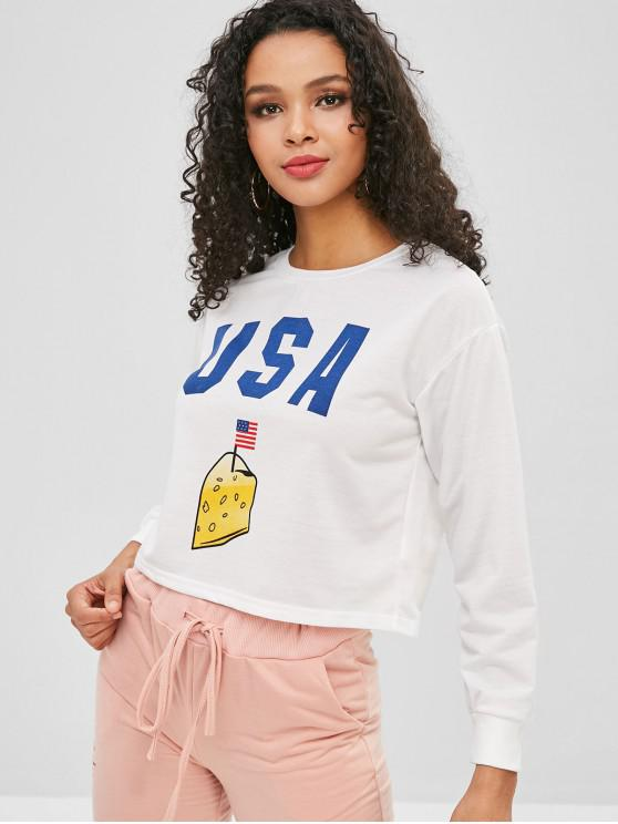 best USA Graphic American Flag Boxy Sweatshirt - WHITE S