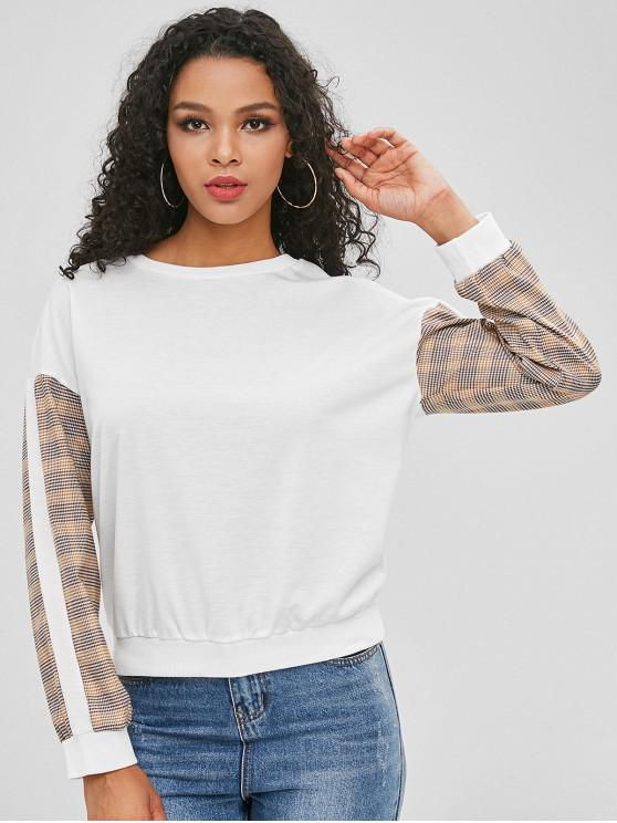 ladies Pullover Plaid Sleeve Sweatshirt - WHITE M