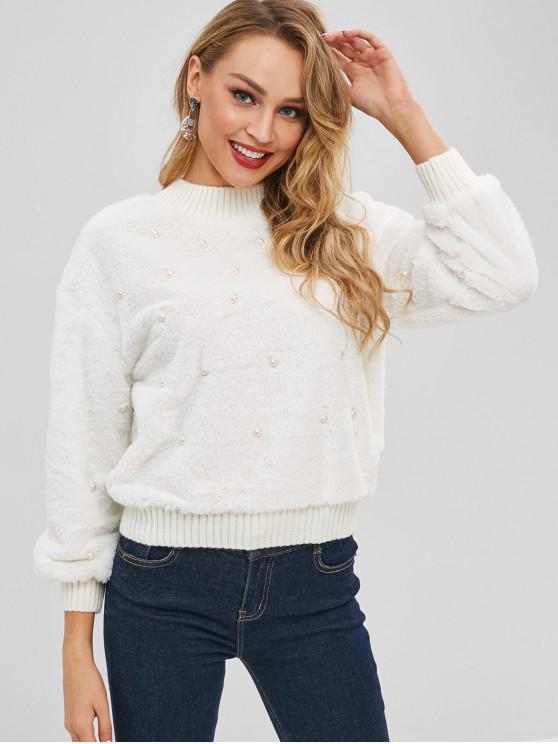 Sweat-shirt Fourré Perlé avec Fausse Fourrure - Blanc Taille Unique
