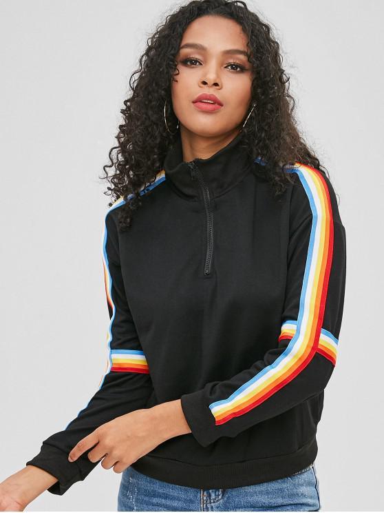 Sweat-shirt Zippé Contrasté à Bordure Arc-en-Ciel - Noir XL