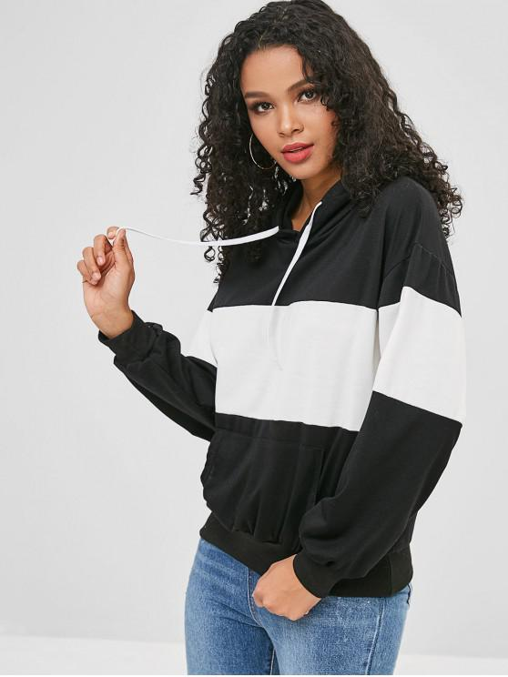 best Front Pocket Loose Two Tone Hoodie - MULTI-A S