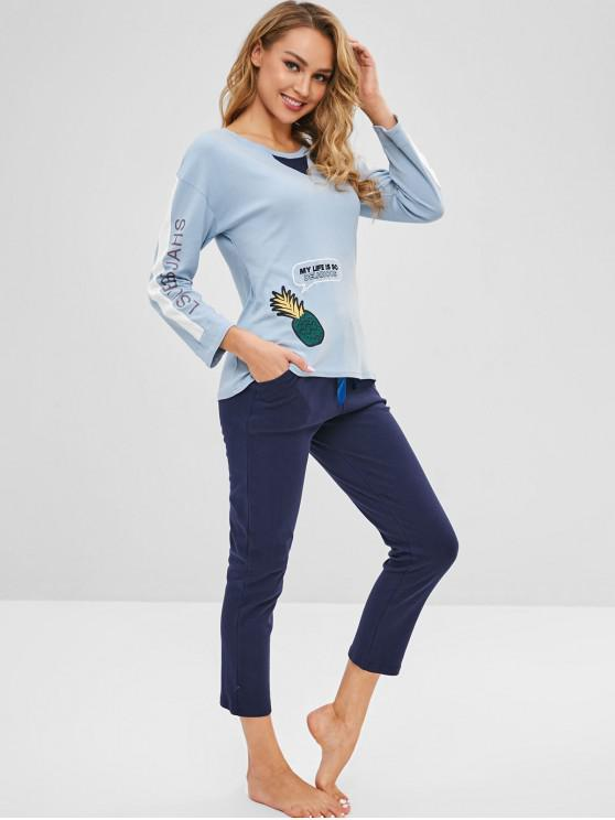 new Pineapple Drop Shoulder Pajama Set - MULTI-A M