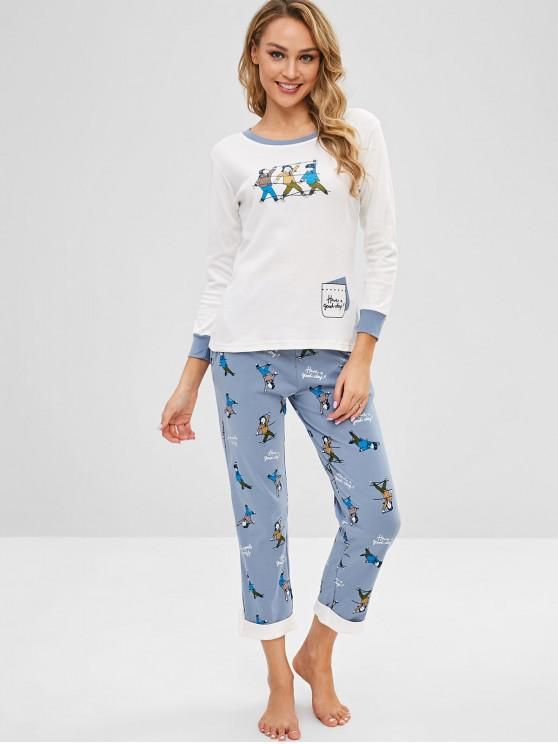 shops Girl Print Color Block Pajama Set - MULTI-A L