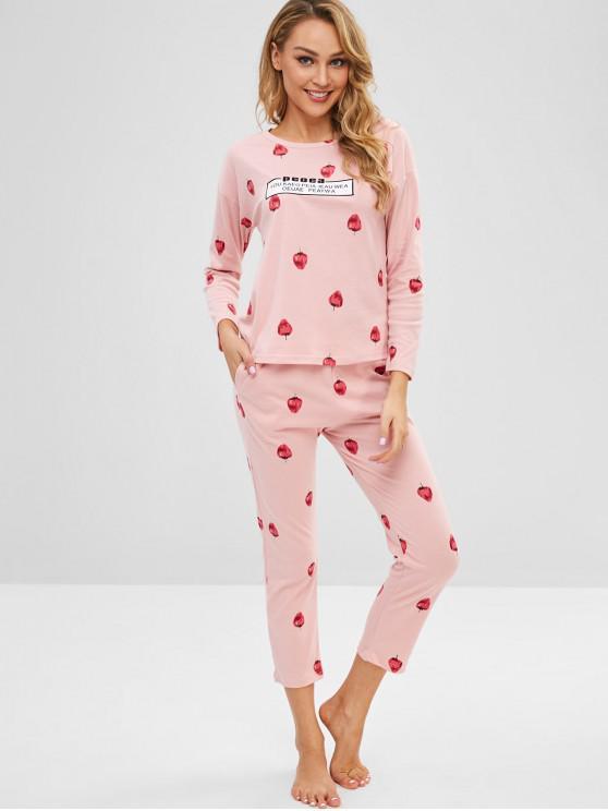 Ensemble de Pyjama Lettre Fraise à Goutte Epaule - Rose Cochon 2XL