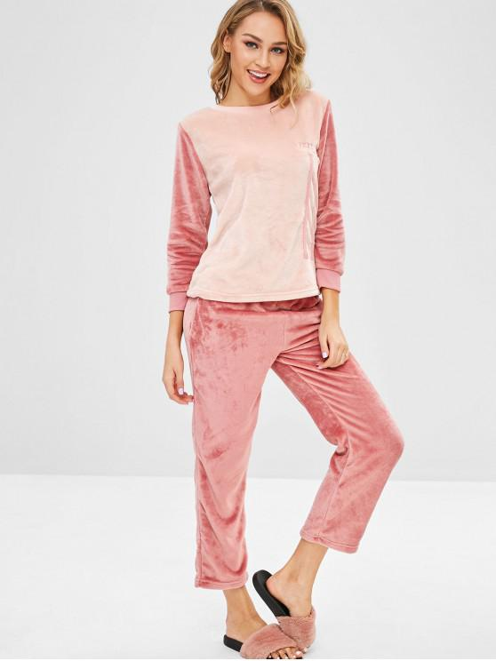 women's Letter Embroidered Color Block Flannel Pajama Set - MULTI-A L