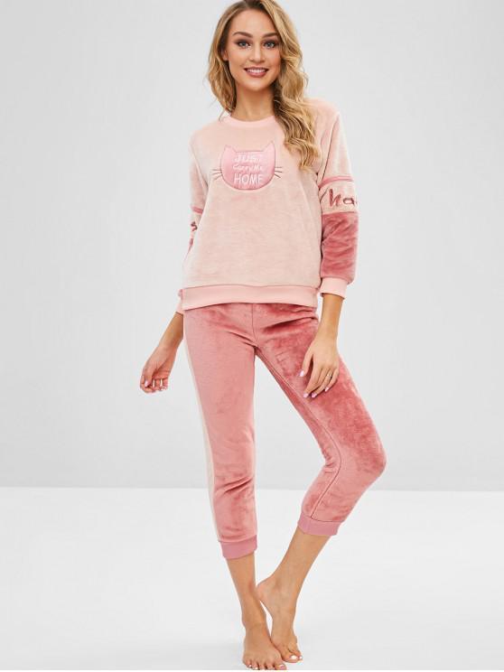 Conjunto de pijama bordado con letras de gato de franela - Multicolor-A 2XL