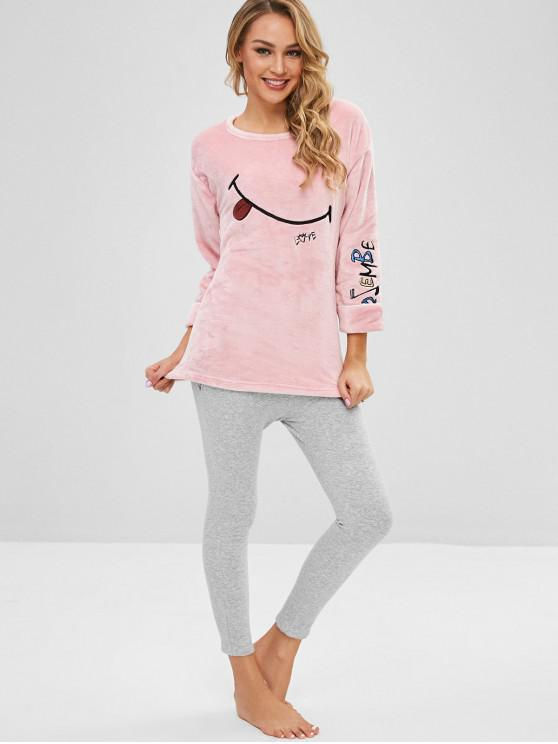 fashion Flannel Embroidered Color Block Pajama Set - PIG PINK XL