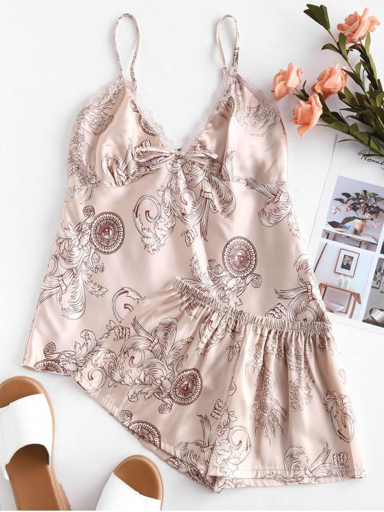Conjunto de pijama de encaje estampado satinado - Blanco Almendra M