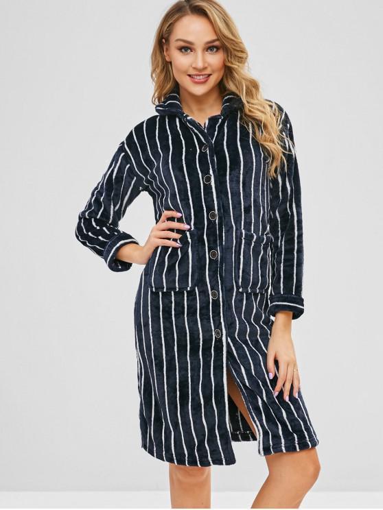 sale Flannel Striped Pocket Pajama Shirt Dress - MULTI-A L