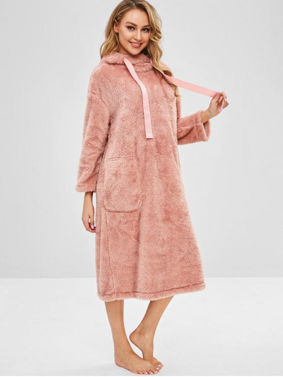 women Flannel Pocket Pajama Hoodie Dress - ROSE L