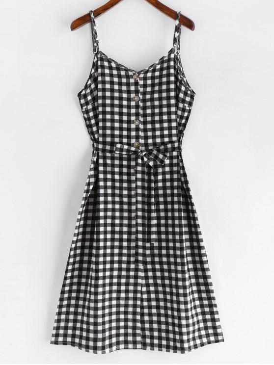 womens Tie Front Plaid Cami Dress - BLACK S