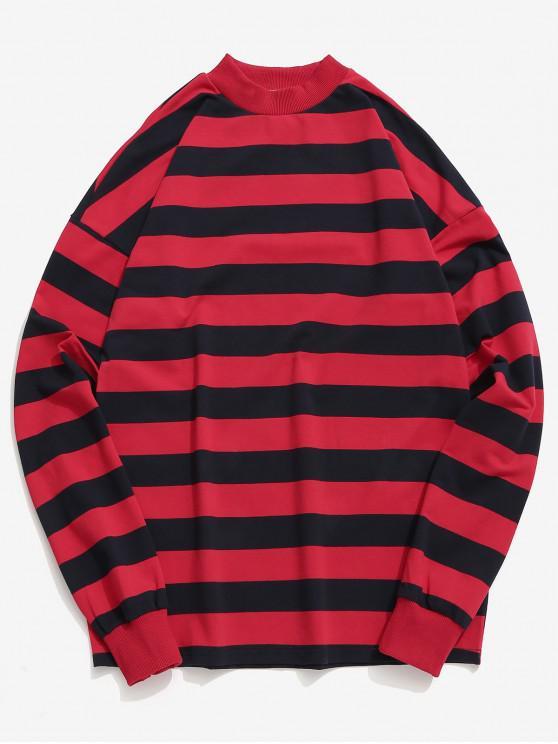 T-shirt à Rayure Horizontale Contrasté - Rouge XL
