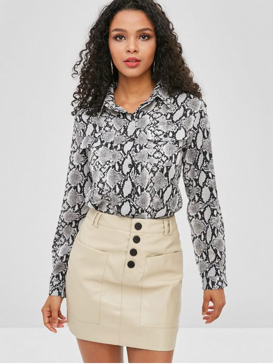 b51d03048cbc40 23% OFF  2019 Snakeskin Print Buttoned Pockets Shirt In MULTI-A