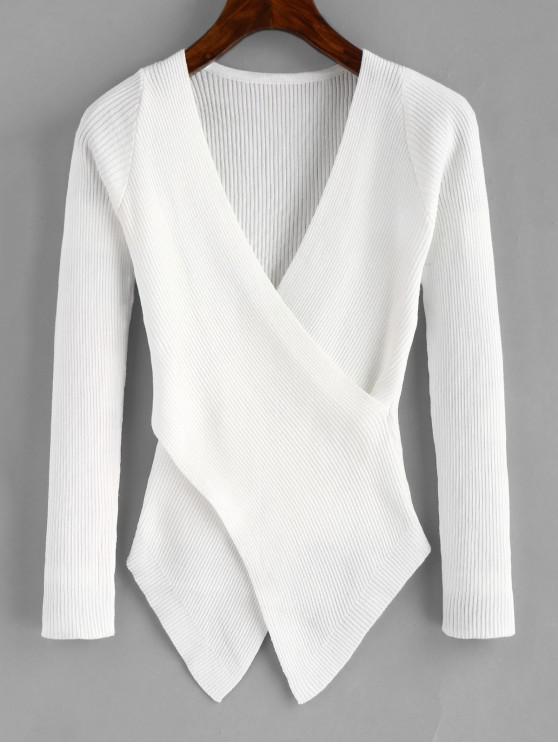 Punto de cuello superpuesto prendas de punto asimétricas - Blanco Talla única