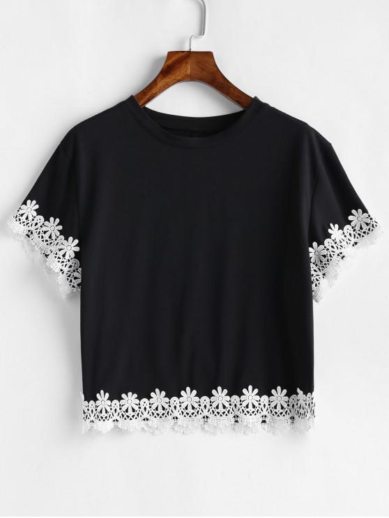 Camiseta de flores de ganchillo gota hombro - Negro M