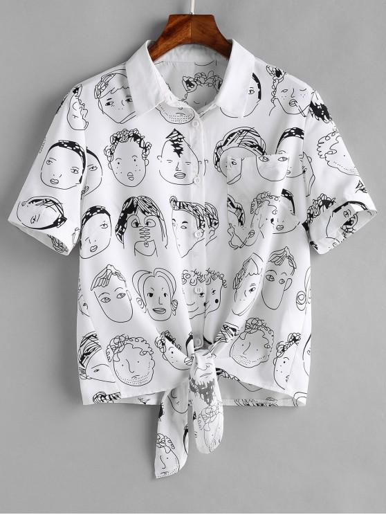 Camisa con dobladillo y lazo gráfico de bolsillo - Blanco L