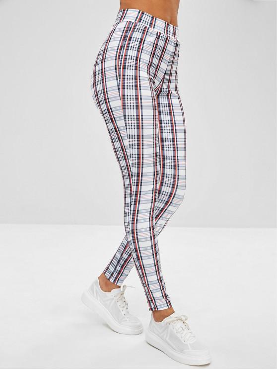 Pantaloni Aderenti A Quadretti - Multi Colori XL