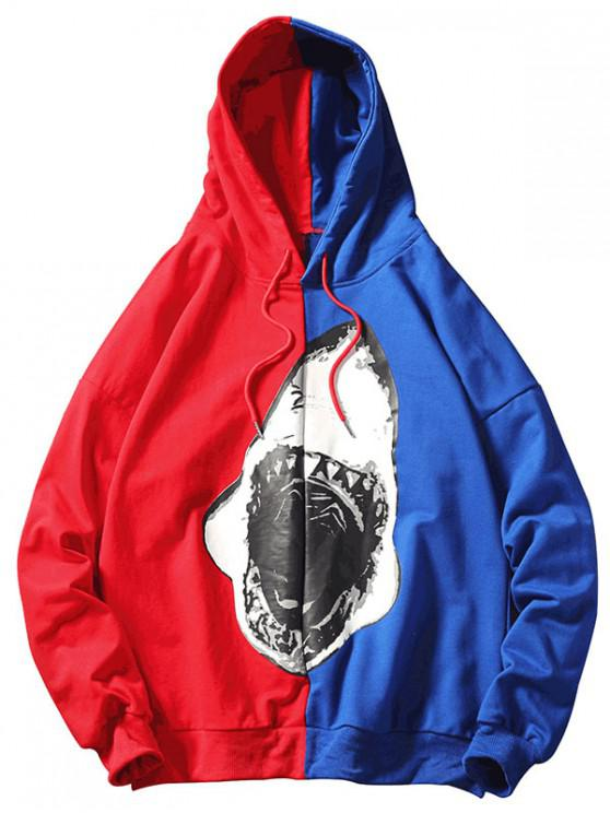 trendy Shark Color Block Hoodie - COBALT BLUE L