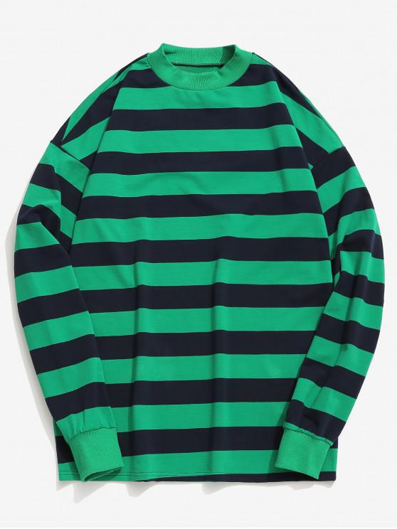 outfit Contrast Horizontal Stripe T-shirt - LIGHT SEA GREEN L