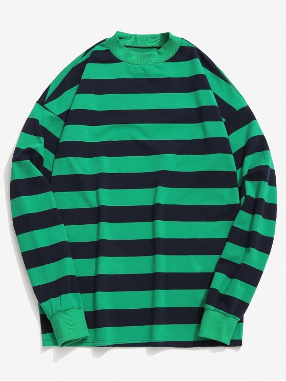 Camiseta Contraste de Raya Horizontal - Verde de Mar Ligero L
