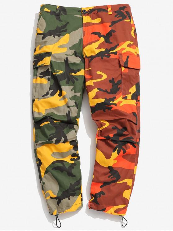 Pantaloni Di Camo A Contrasto Con Cerniera - Arancione 2XL