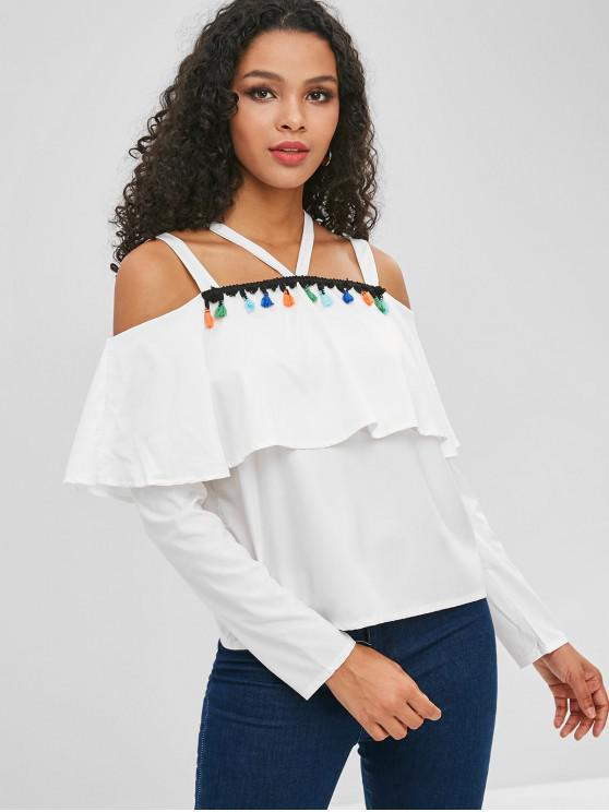 trendy Tassel Flounce Cold Shoulder Blouse - WHITE S