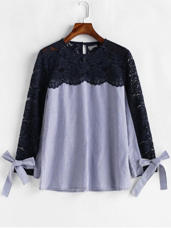 Blusa de algemas listradas de crochê - Multi-A M