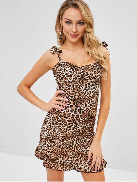 affordable Tie Shoulder Shirred Leopard Dress - LEOPARD L