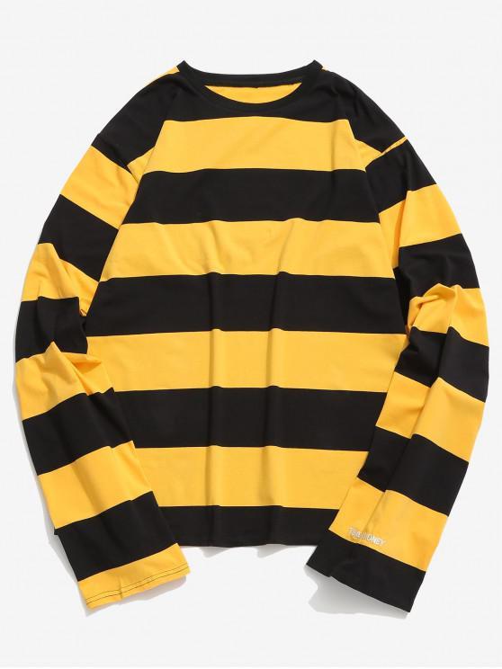 women's Contrast Striped Long Sleeve T-shirt - YELLOW XL
