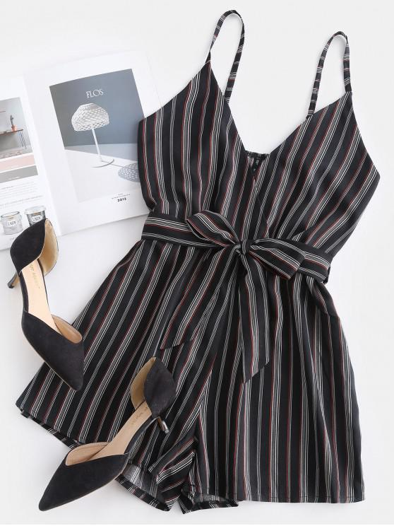 women ZAFUL Cami Striped Surplice Romper - MULTI S