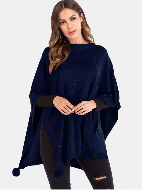 new Fuzzy Ball Design Rhinestoned Poncho Sweater - DEEP BLUE ONE SIZE