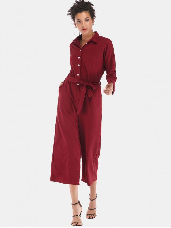 875e79c2f1ed3 POPULAR  2019 Button Up Belted Wide Legs Cropped Jumpsuit In RED L ...