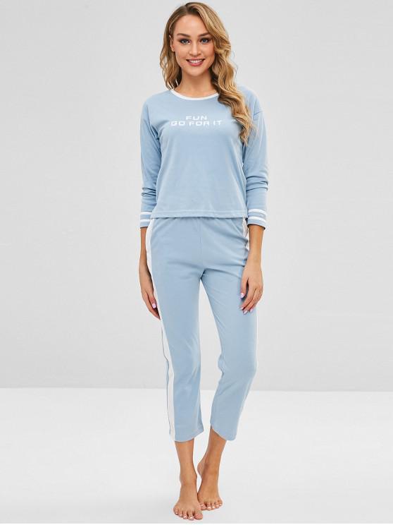 trendy Letter High Low Slit Pajama Set - BLUE KOI M