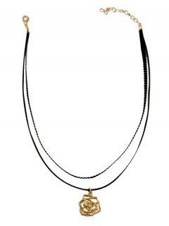 Rose Flower Shape Drop Necklace - Black
