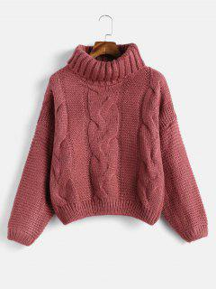 Drop Shoulder Cable Knit Turtleneck Chunky Sweater - Cherry Red