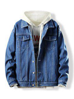 Turn-down Collar Button Fly Fleece Denim Jacket - Denim Dark Blue Xs