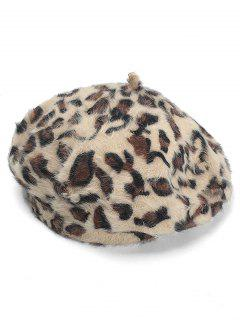 Leopard Pattern Decorative Beret - Camel Brown
