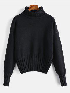 High Neck Drop Shoulder Jumper Sweater - Black