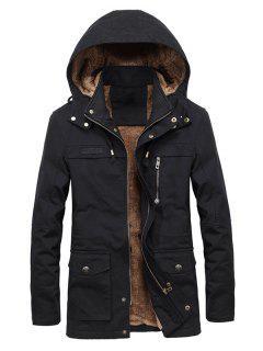 Faux Fur Lined Solid Pocket Jacket - Black L