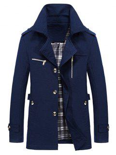 Lapel Zipper Decor Button Jacket - Deep Blue L