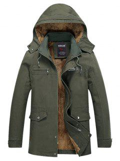 Soft Faux Fur Lined Thicken Jacket - Army Green M