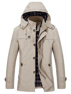 Buttons Zip Hooded Trench Coat - Light Khaki L