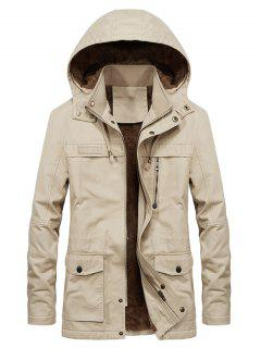 Faux Fur Lined Solid Pocket Jacket - Khaki M