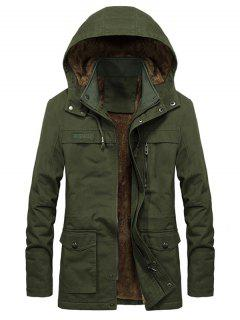 Faux Fur Lined Solid Pocket Jacket - Army Green L