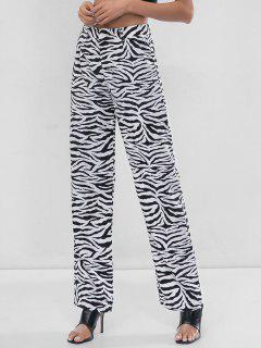 Zebra Print Wide Leg Pants - White S