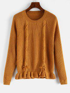 Ruffle Hem Lace Up Plain Sweater - Orange Gold