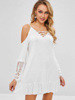 Vestido De Camuflaje Con Volantes De Panel De Ganchillo - Blanco 2xl