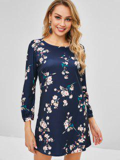Mini Long Sleeve Floral Dress - Midnight Blue L