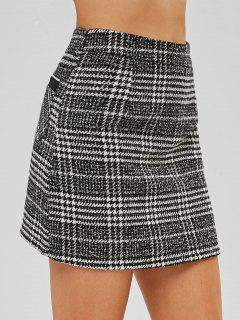 Front Pocket Houndstooth Tweed Skirt - Black L
