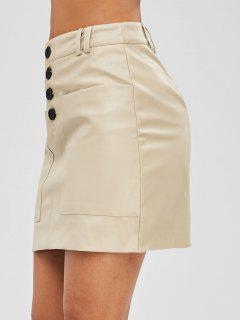 Button Fly Faux Leather Skirt - Beige M